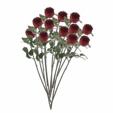 12x rozen kunstbloem rood 69 cm