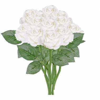 12x rozen kunstbloem wit 27 cm
