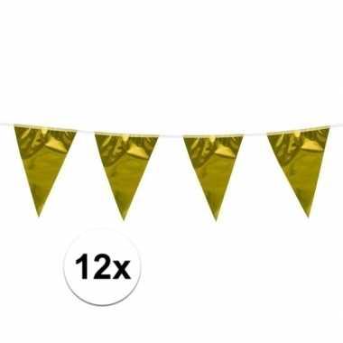 12x stuks glimmende vlaggenlijn goud 10 meter