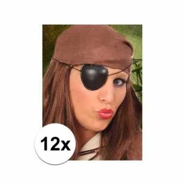12x stuks piraten ooglapje van plastic