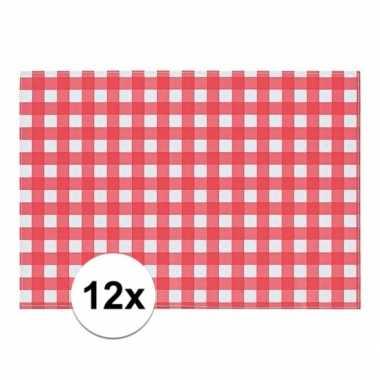 12x tafelmatje rood/wit geblokt 43 x 30 cm
