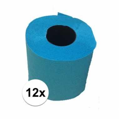 12x turquoise blauw toiletpapier