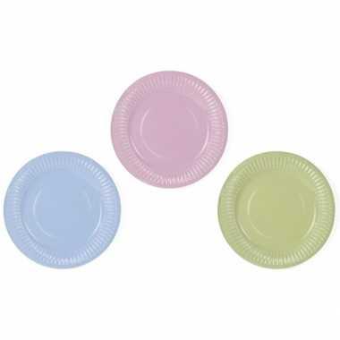 12x wegwerp borden in pastel tinten van karton