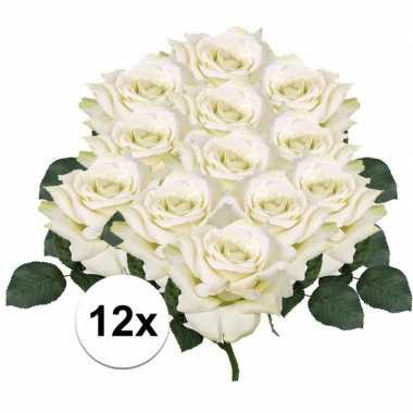 12x witte roos 31 cm kunstplant
