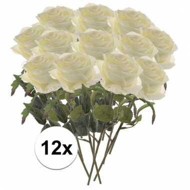 12x witte roos kunstbloem 45 cm