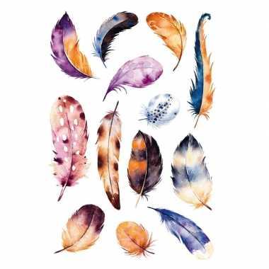 13x veren stickertjes met aquarelprint
