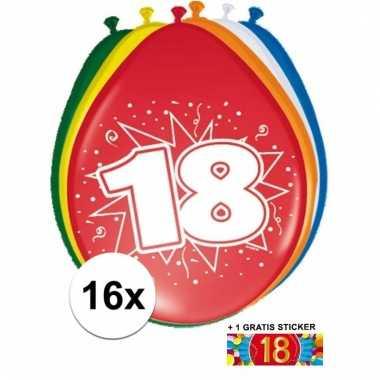 16 party ballonnen 18 jaar opdruk + sticker