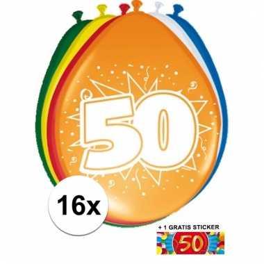 16 party ballonnen 50 jaar opdruk + sticker