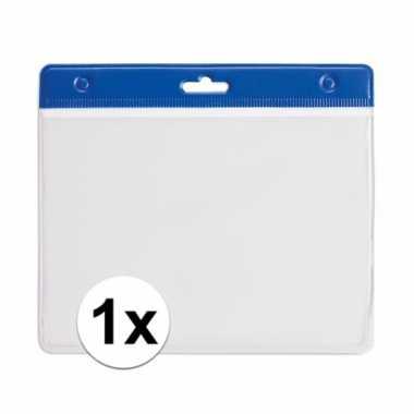 1x badgehouder voor aan een keycord blauw 11,2 x 58 cm