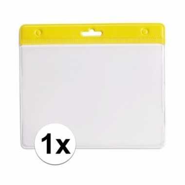 1x badgehouder voor aan een keycord geel 11,2 x 58 cm
