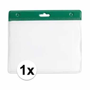 1x badgehouder voor aan een keycord groen 11,2 x 58 cm
