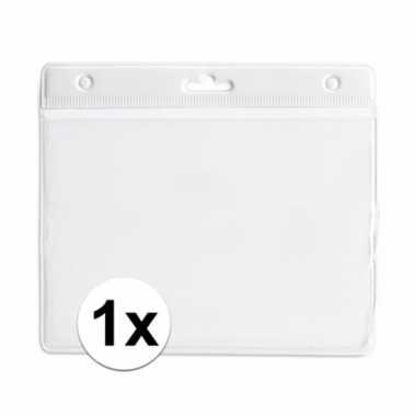 1x badgehouder voor aan een keycord wit 11,2 x 58 cm