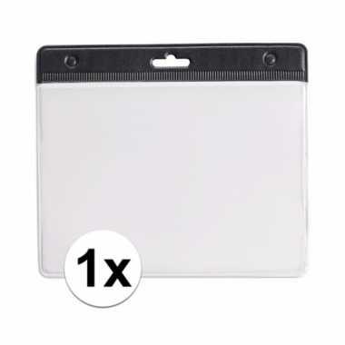 1x badgehouder voor aan een keycord zwart 11,2 x 58 cm