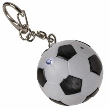 1x voetbal sleutelhanger met led-lichtje 3,5 cm