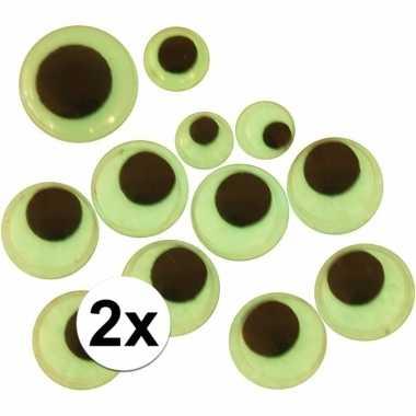 2 stuks wiebelende sticker oogjes glow in the dark 30 stuks