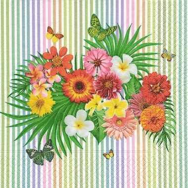 20x papieren servetjes zomerse bloemen en vlinders print 33 x 33 cm