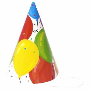 24x verjaardag hoedjes ballonnen van papier