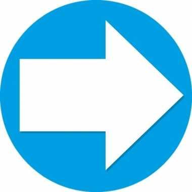 25x sticker pijl blauw met wit