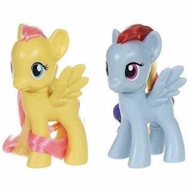 2x cadeau my little pony speelgoed paardjes fluttershy en rainbow das