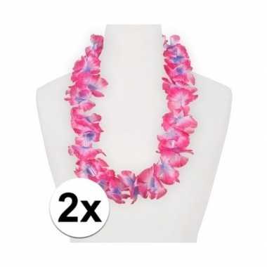 2x feest hawaii slingers roze/paars