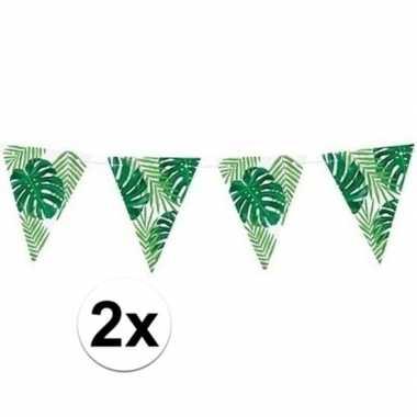 2x feest vlaggenlijnen tropisch feestje