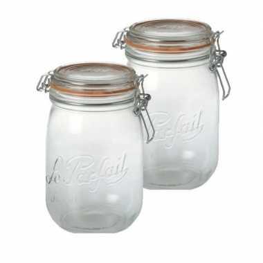 2x glazen keuken voorraadpot 1 liter