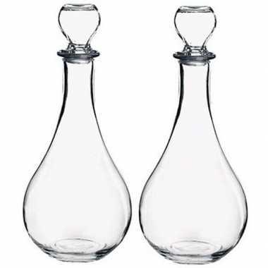 2x glazen wijn/water schenkflessen 1,2 liter