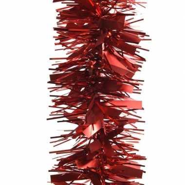 2x kerstboom folie slinger mat/glans rood 270 cm