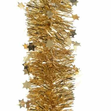 2x kerstboom folie slinger met ster goud 270 cm