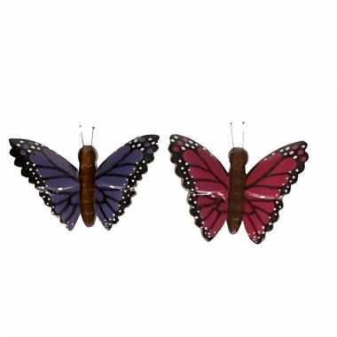 2x magneet hout paarse en roze vlinder