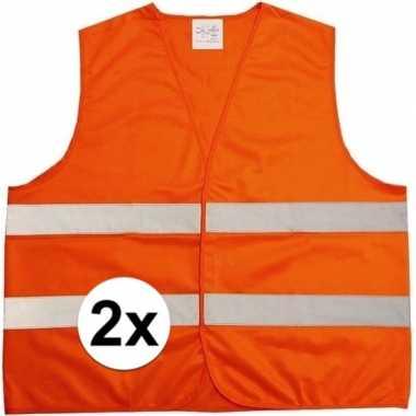 2x oranje veiligheidsvest voor volwassenen