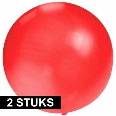 2x stuks ronde rode ballonnen 60 cm groot