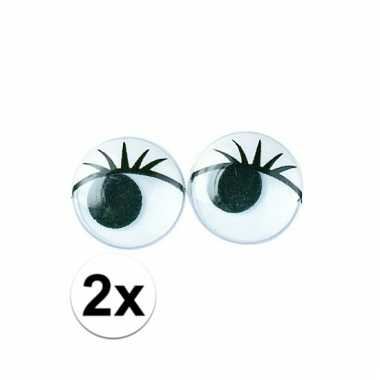 2x zakjes hobby artikelen oogjes met wimpers 15 mm