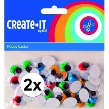 2x zwarte wiebeloogjes met gekleurde wimpers