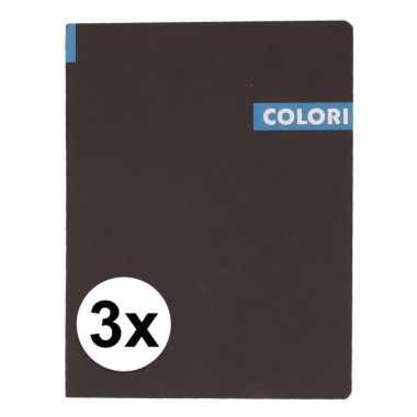 3 notitieboekjes b5 96 blauwe vellen