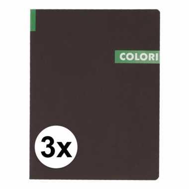 3 notitieboekjes b5 96 groene vellen