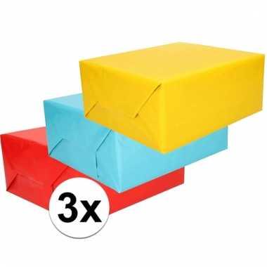 3 rollen cadeaupapier in felle kleurtjes 70 x 200 cm