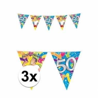 3 stuks 50 jaar feest abraham buiten vlaggetjes
