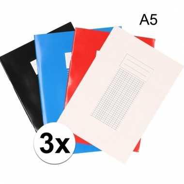 3 stuks a5 schriften met ruitjes 5 mm