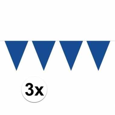 3 stuks groot formaat blauwe slingers