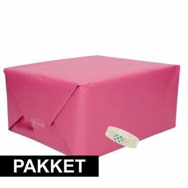 3 stuks kraft inpakpapier met rolletje plakband 10105992