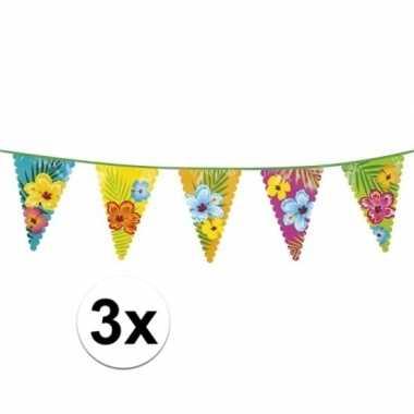 3x bloemen vlaggenlijnen 6 meter