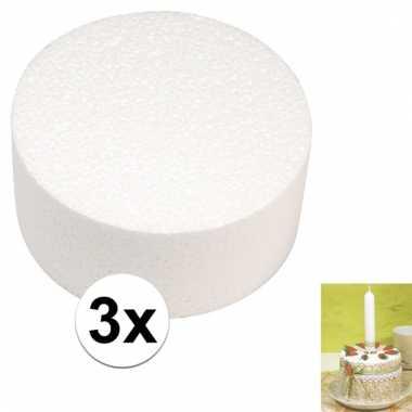 3x bruidstaart maken piepschuim schijf 10 cm 10106785