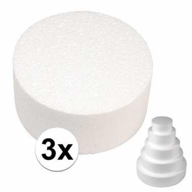 3x bruidstaart maken piepschuimen schijven 7 x 15 cm