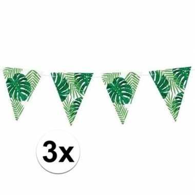 3x feest vlaggenlijnen tropisch feestje