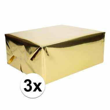 3x goud cadeaupapier metallic 400 x 50 cm