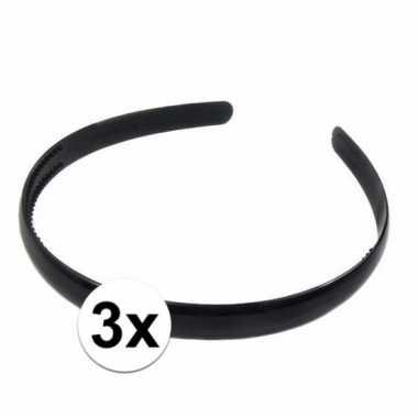 3x haaraccessoires zwarte haardbandjes voor dames