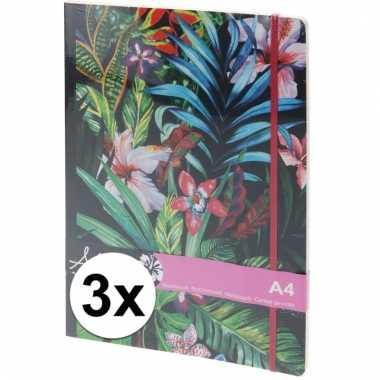3x notitieboekje gelinieerde bladzijdes a4