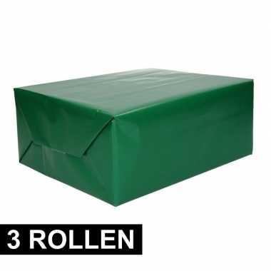 3x rollen cadeaupapier groen 70 x 200 cm