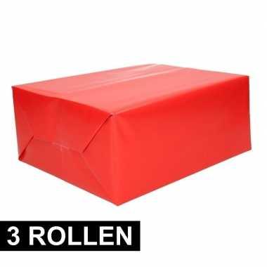 3x rollen cadeaupapier rood 70 x 200 cm